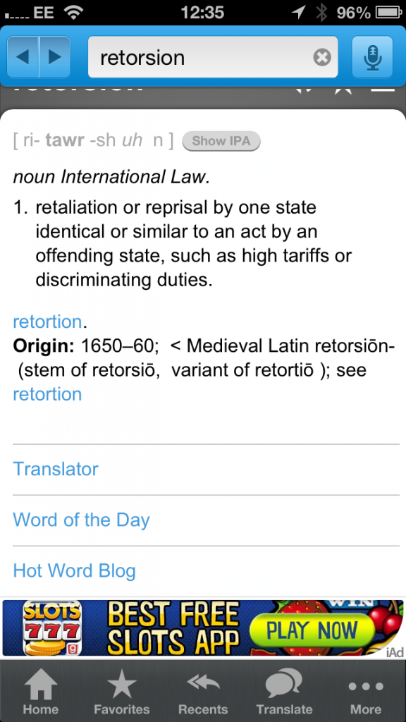 Dictionary on iPhone