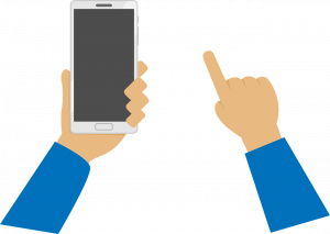holding a phone and pointing finger