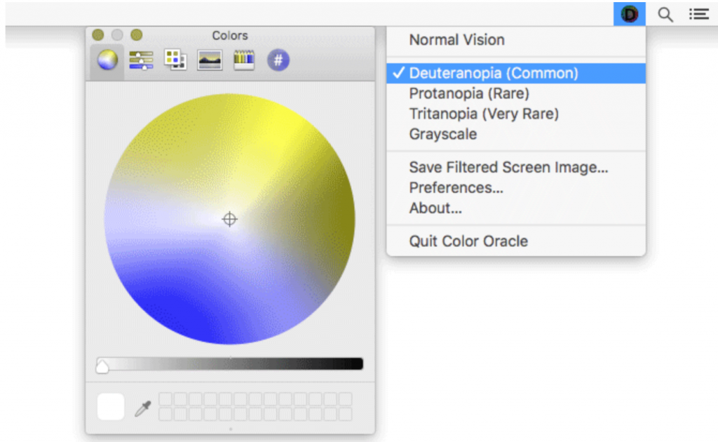 Color Oracle menu with view of colour palette